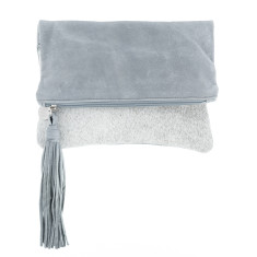 Tash Grey Cowhide + Grey Leather Clutch