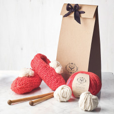 Beginners Cosy Bobble Slippers DIY Knitting Kit