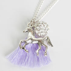 Chain necklace with horse, diamonte ball and tassel