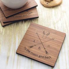 Set Of Four Personalised Wood Coaster Set