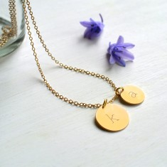 Personalised Gold Double Initial Disc Pendant Necklace
