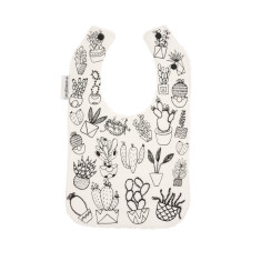 Succulent Hand Screen Printed Bib on Cream