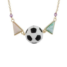 Soccer ball and colourful stone necklace