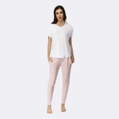 Santa Monica Pant & Tee Set Blush & White