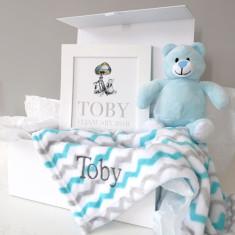 Personalised Blanket, Teddy And Art Baby Hamper