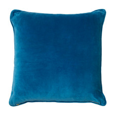 Basic large velvet cushion cover in teal