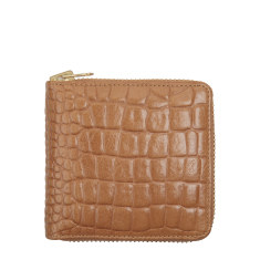 Empire leather wallet in tan croc
