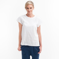 Cotton Cap Sleeve Tee in White