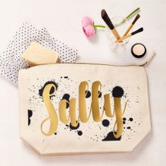 Personalised Black And Gold Splat Pouch
