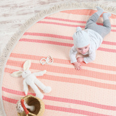 Roundie Rug In Desert Rose Red & Orange