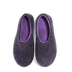 Handmade Women's Boiled Wool Shoes Black Orchid