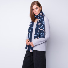 Geometrica ink print cashmere scarf in multi colour