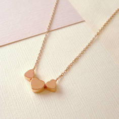 Rose Gold Floating Hearts Necklace