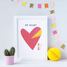 My Heart a Pie Diagram Personalised Print