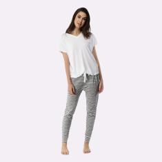 Santa Monica Pant & Tee Set Grey Marle & White