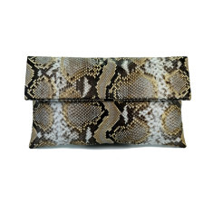Light beige motif python leather classic foldover clutch