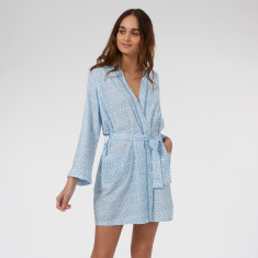 Short cotton kimono in Blue Hexagon print
