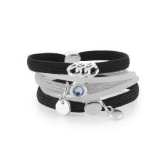 Hair ties in black & silver (pack of 5)