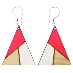 Fluro pink and white triangle earrings