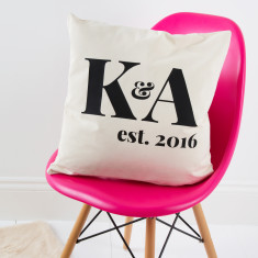 Couple's Initials Established Cushion Cover