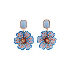 Psychedelic spotted blue poppy earrings