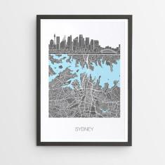 Sydney skyline map print