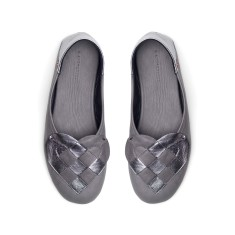 Elskling Slipper In Dark Grey/Metalic Slate Leather