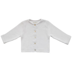 Wave knit luxury cotton baby cardigan in alpine white