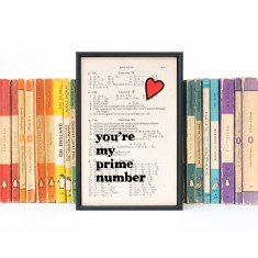 Romantic Geek Gift Prime Number quote - book page print