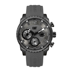 CAT Mossville series Watch in Gun Metal Steel with Grey Silicon Band in a Grey Dual Time multi-dial face