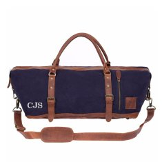 Long travel duffle in navy blue canvas