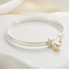 Personalised 'My First Pearl Christening' Baby Bangle