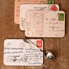 Vintage Postcard Coasters set of four