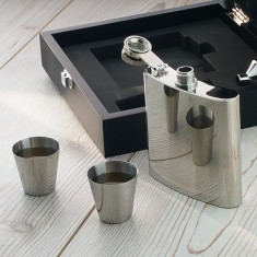 Engraved Hip Flask Presentation Set