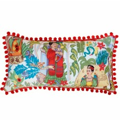 Frida's Garden Cream Long Cushion with Pom Poms