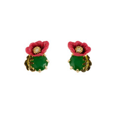 Pink Flower and Green Stone Earrings