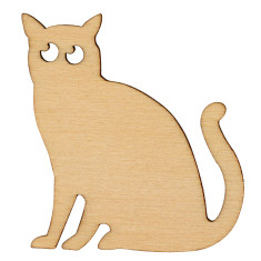 Recycled wood Minou the Cat Brooch