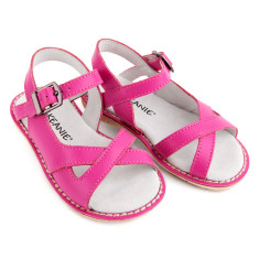 Kids' cross over leather sandals in fuchsia
