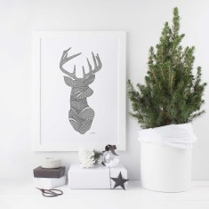 Deer drawing print