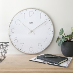 Ola SILENT SWEEP Wall Clock 50cm Available in Chrome and Rose Gold