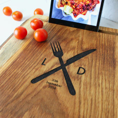 Solid oak personalised chopping board and iPad stand