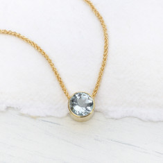 Aquamarine Necklace in 18ct Gold, March Birthstone