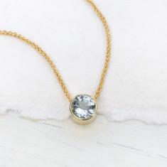 Aquamarine Necklace in 18ct Gold, March Birthstone