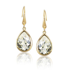 Crystal and Yellow Gold Vermeil Tear Drop Earrings
