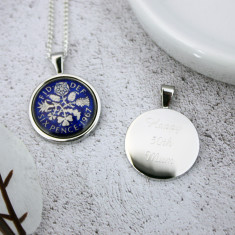 Sixpence 50th Enamel Coin Necklace Pendant