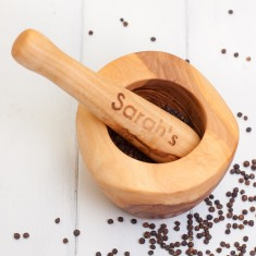 Personalised Wooden Pestle and Mortar