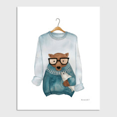 Bear Jumper Brunch Funny Watercolour Illustration Art Print