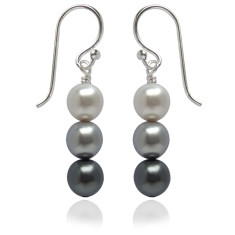 Neapolitan swarovski pearl earrings in grey