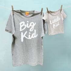 Big kid/little kid grey t-shirt twinset for dad & child