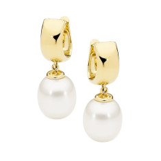 White drop pearl 9ct yellow gold earrings
